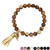 Lava Volcanic Buddha Head Bracelet Bracelets de perles en pierre naturelle Personnalité Gland Hommes Femmes bijoux Corde Chaîne Strand Bracelet