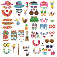 Venta caliente 60 unids / set Luau Photo Booth Props - Hawaiian / Tropical / Tiki / Summer Pool Party Decoraciones suministros al por mayor