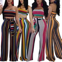 2018 New Women' s Sexy Stripes 2 PieceStrapless Top Wide...