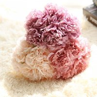 5Colors Artificial Fake Peony Silk Flowers Bridal Bouquet Fl...