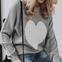 Autumn Winter Knitted Love Graphic Sweater Women Long Sleeve...