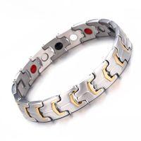 Homens pulseiras magnéticas de artrite terapia de cuidados de saúde pulseiras elegante germânio Chain Link mão jóias holograma jóias para homens