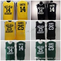 14 Will Smith Jerseys der frische Prinz 25 Carlton Banken Jersey von Bel-Air Basketball Bel Air Academy Gelbes Hemd schwarz grün (TV Sitcom)