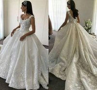 2018 Modest A Line Princess Abiti da sposa 3D-Floral Appliques in pizzo Scoop con perline Tulle Hollow Backless cappella treno Plus Size Abiti da sposa