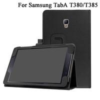 PU Läderskydd för Samsung Galaxy Tab A 8.0 2017 T380 T385 SM-T385 Tablet Stand Case Folio