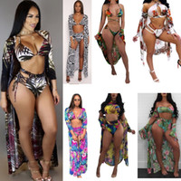 2018 Women Printed Cloak + Bikini 3PCS SET Summer Sexy Backl...