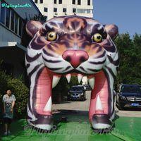 Túnel inflável do arco do tigre da entrada artificial decorativa do tigre da mostra de 4m