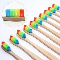 8 PCS Coloré Brosse À Dents En Bambou Nouveauté Arc-En-Bois Dents Brosse Poignée Douce Fibre De Bambou Manche En Bois