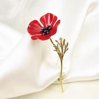 Broches de flores de amapola roja de OneckOha Traje de mujer para hombre Accesorios para el regalo del día de la madre