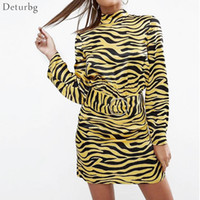 Las mujeres nuevas Sexy Ladies 'Dress Fashion Slim manga larga Back Hollow Out Dress Las mujeres Casual Tiger Print vestidos Deturbg Dr331