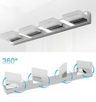 360 ° 회전 욕실 아크릴 LED 조명 거울 전면 스테인레스 스틸 벽 램프