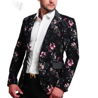 Mens Floral Blazer 100% Cotton Flower Print Blazers For Men ...