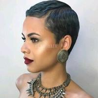 ブラジルのバージンヘアフルマシン作りのレースの人間の髪のかつら短い自然な直線のヘアライン120%密度なし赤ちゃんの髪を持つレースフロントかつら