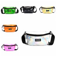 6 Colors Pink Letter Printed Laser Waist Bag PINK Rainbow Ho...