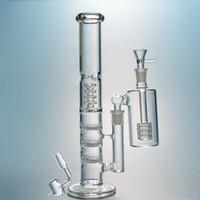 Bangs de tubes droites avec cendrier triple verre bong oiseaux oiseaux perc tuyaux d'eau 18mm femelle articulation huile plates-plates HR316