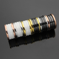 Black White Ceramic Whorl Rings, Yellow Gold  Rose Gold  Sil...