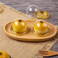 Cake Box Gold plastica rotondo Vassoio singolo Plastica del commestibile cottura Muffin regalo Scatole per imballaggio di favori ospiti della festa