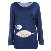 Umstandsmode Lustige kreativer Casual Langarm-Baumwoll-T-Shirt Nursing Bottle T-Shirt Art plus Größen-Frauen-Druck-