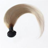 Tessuto per capelli grigi T1B / grigio Ombre brasiliano dritto 1 pz fasci di capelli umani doppia trama fasci di tessuto dei capelli remy 100 g