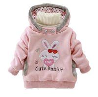 Ragazze Felpe Felpe con cappuccio Abbigliamento per bambini Autunno e inverno Bambina in cotone spesso Top Kids Cute Cartoon Rabbit Hooded Coat