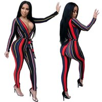 Mujeres Sexy Jumpsuit Cuello En V de Rayas Verticales Imprimir Body Ladies Mamelucos Manga Larga Body Clothings Dropshipping Libre