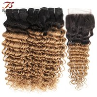 Color 1B 27 Ombre Deep Wave Honey Blonde Hair Bundles with C...