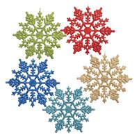 Arbre De Noël Flocons De Neige Décorations Suspendus Flocons De Plafond Ornements De Fête Blanc Glitter Flocon De Neige En Plein Air