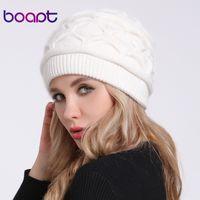[boapt] мягкая ангора Кролик сложить вязаный капот шляпа для женщин шапки повседневная мода Леди Skullies шапочки теплые женские зимние шапки D18110102