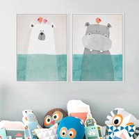 Stampato Picture Wall Painting Tela per bambini Room Decor Poster Unframed Nordic Kawaii Bear Ippopotamo Bird Animal Cartoon Comic