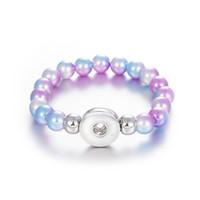 8 Style Colorful pearls Noosa Snap Button Elasticity Bracelet Fit 18mm Bottoni a pressione Gioielli Snap Braccialetto di perle