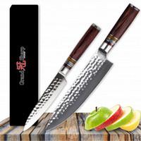GRANDSHARP Messerset 2-teilig Chef-Gebrauchsmesser vg10 Damascus Steel Japanische Küchenmesser Damascus Chefmesser Kochwerkzeug Sharp NEU