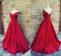 2018 Simple Dark Red Prom Dresses V Neck Off The Shoulder Ru...
