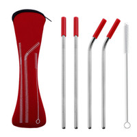 4pcs set Reusable Stainless Steel Straws With Silicone Tips ...