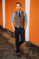 Automne Hiver Styles Marron Laine Tweed Groom Gilet Formelle Hommes Gilet Excellente Hommes De Mariage Porter Le Marié Gilet Casual Slim Gilet 11