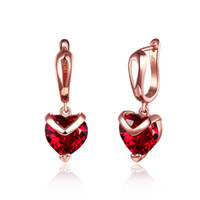 Factory Price Wholesale 18K Rose Gold Plated Red Zircon Hear...
