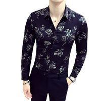 블랙 화이트 셔츠 2018 가을 겨울 긴 소매 패션 디자이너 파티 클럽 파티 파티 셔츠 세련된 골드 슬림 셔츠 남성용