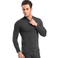 قطعتين الرجال لينة إضافة الصوف داخلية مجموعة شتاء دافئ 2019 ذوي الياقات العالية الحرارية الملابس الداخلية الكشمير الحرارية بولارتيك طويل جونز