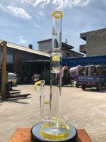 Новый дизайн 21 дюймов желтый большой палкой дерево вилка дрель бонг курильщик табак табак масло с 19 мм чаша и бесплатная доставка