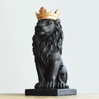 Resin Home Displays Crown Lion for Home Office Decoration Gi...