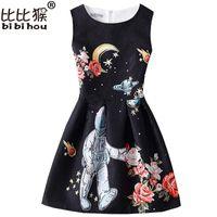 Bibihou mãe crianças menina vestido de verão moda borboleta sem mangas impressão meninas roupas princesa vestidos de festa roupas de menina