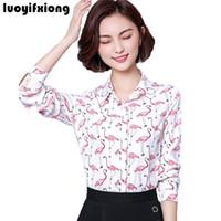 Kadın Bluzlar Gömlek Luoyifxiong 2021 Bayan Tops Ve Uzun Kollu Blusas Moda Vintage Baskı Bluz Gömlek Artı Boyutu Ofis Blusa Femin