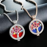 Moda Crystal Tree Of Life Locket Collar Aromaterapia Aceite Esencial Difusor Collar para las mujeres joyería