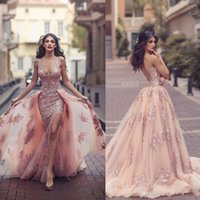Saudi Arabic Overskirt Mermaid Evening Dresses 2018 New Desi...