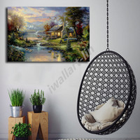 Thomas Kinkade Mountain Retreat Cartoon Wall Art HD Print Pa...