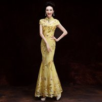 YSB051 Fashion Gold Lace Bride Wedding Qipao Long Cheongsam ...