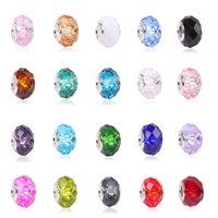 5pcs 패션 새로운 20 색 DIY 유리 구슬 맞는 판도라 매력 팔찌 목걸이 14 * 8 * 5mm 유럽 구슬 보석 매력을 만드는