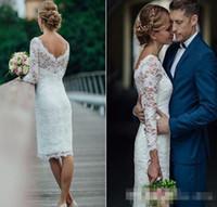 Sommar korta bröllopsklänningar med långärmad knä längd enkel vit elfenbenskort mantel bohemiska bröllopsklänningar brudklänningar