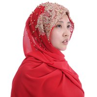 Haute Qualité Mousseline De Soie Lourde Femmes Musulmanes Hijab Écharpe Châle Tête De Wrap Glitter Perles 180cm x 75cm
