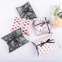 لطيف ورقة هدية مربع وسادة الشكل حفل زفاف لصالح الإحسان علب حلوى هدية الوردي ورقة مربع أكياس عيد إمدادات حقيبة