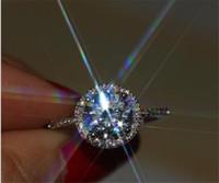 Eterna 925 Sterling Silver Ring Jóias Finas Com S925 Carlay Inlay 1 Carat CZ Simulado de Diamante Anel de Noivado Tamanho 4-9